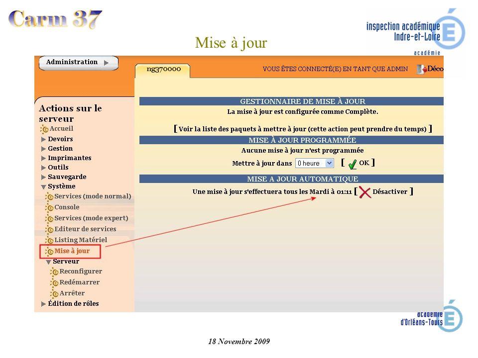 Mise à jour 18 Novembre 2009