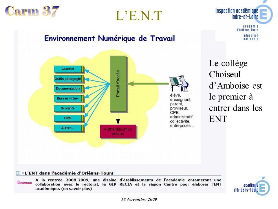 L'E.N.T Le collège Choiseul d'Amboise est le premier à entrer dans les ENT 18 Novembre 2009