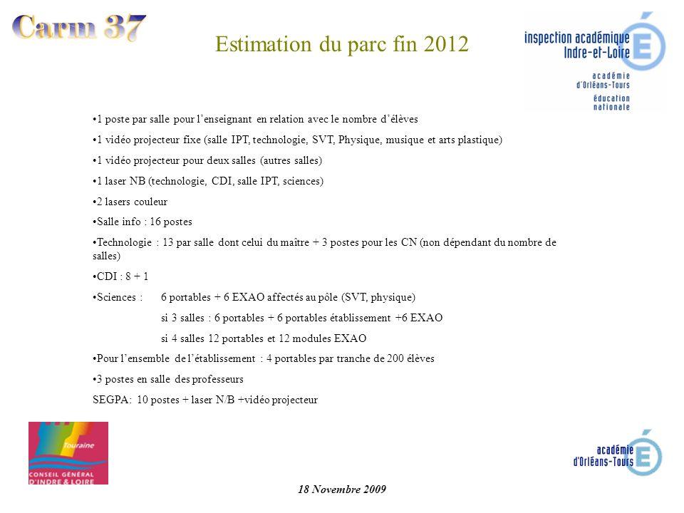 Estimation du parc fin 2012 1 poste par salle pour l'enseignant en relation avec le nombre d'élèves.