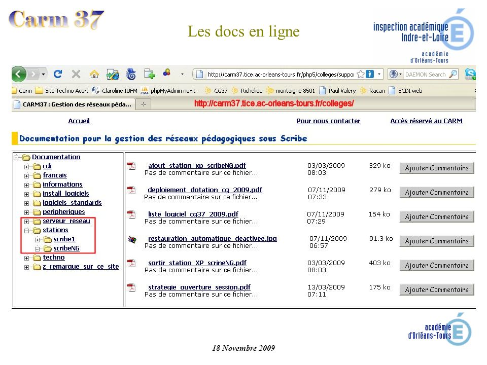 Les docs en ligne 18 Novembre 2009