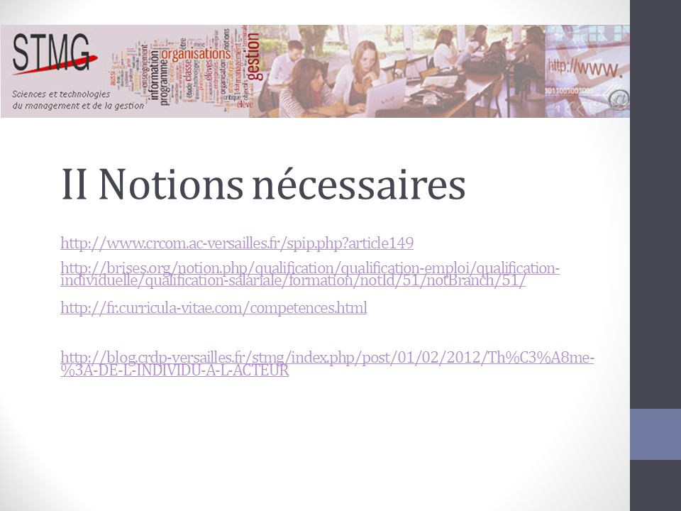 II Notions nécessaires http://www. crcom. ac-versailles. fr/spip. php
