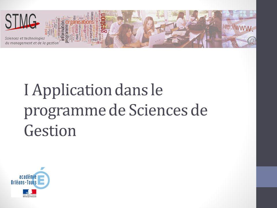I Application dans le programme de Sciences de Gestion