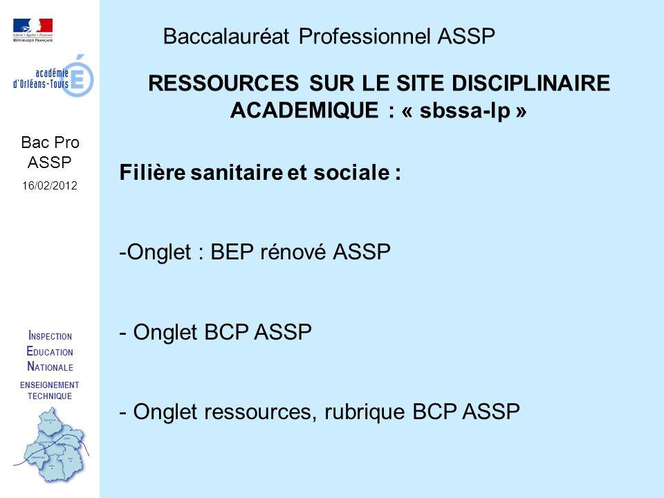 RESSOURCES SUR LE SITE DISCIPLINAIRE ACADEMIQUE : « sbssa-lp »