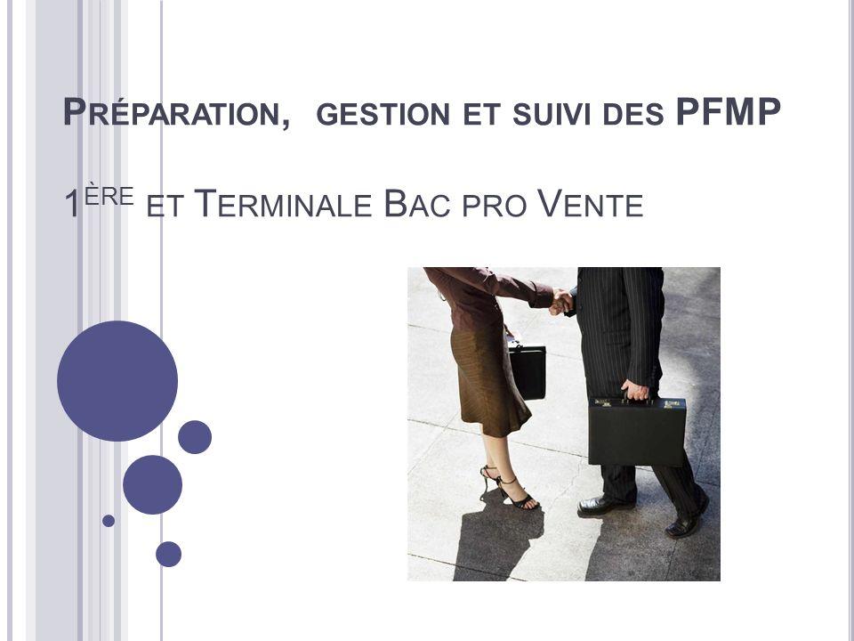 Préparation, gestion et suivi des PFMP 1ère et Terminale Bac pro Vente