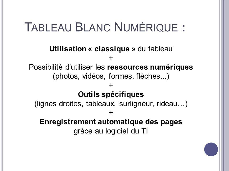 Tableau Blanc Numérique :