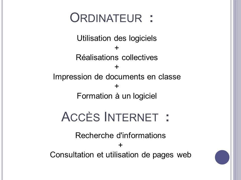 Ordinateur : Accès Internet : Utilisation des logiciels +