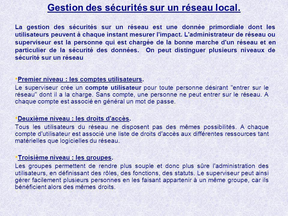Gestion des sécurités sur un réseau local.