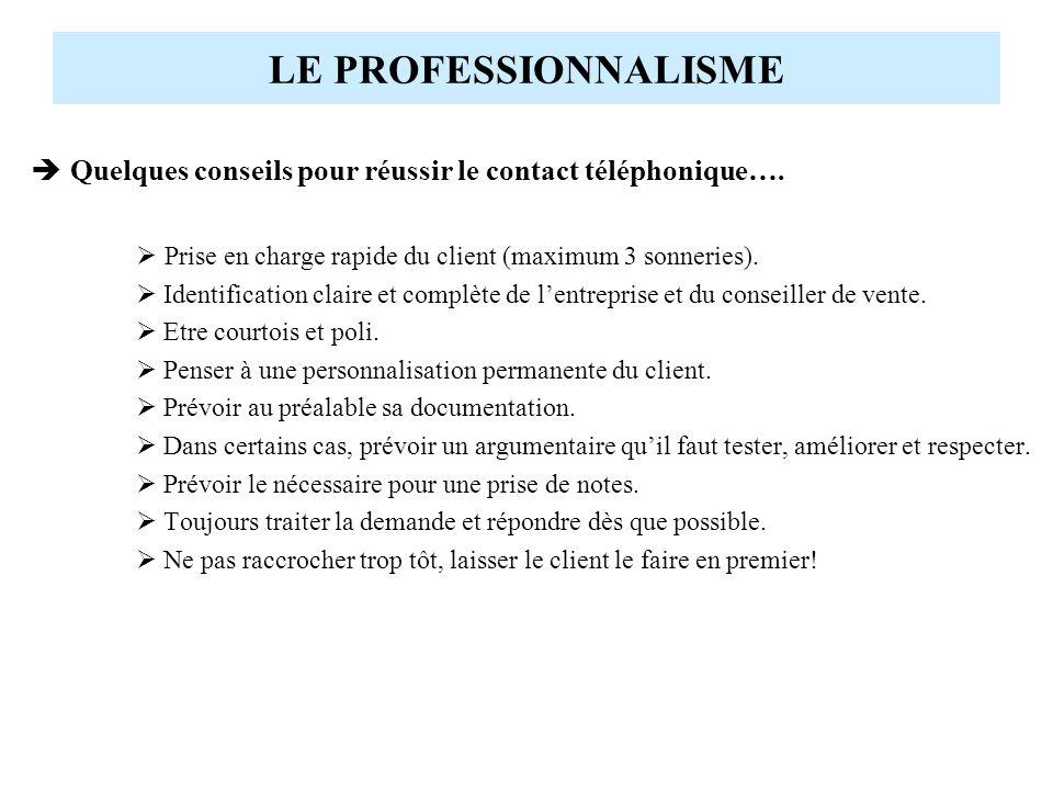 LE PROFESSIONNALISME Quelques conseils pour réussir le contact téléphonique….  Prise en charge rapide du client (maximum 3 sonneries).