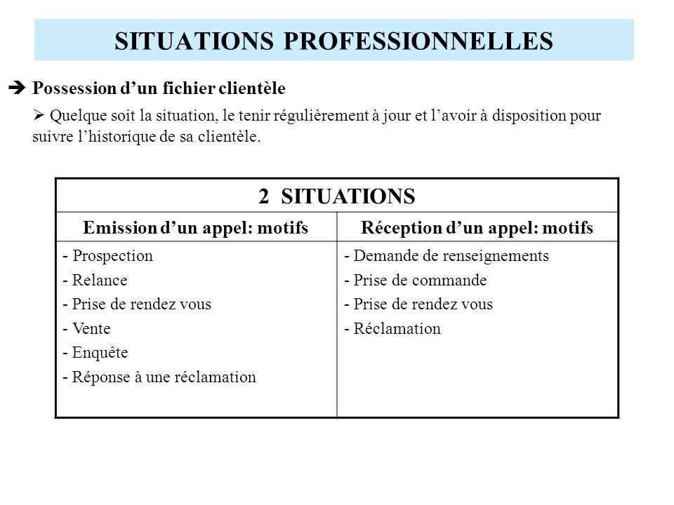 SITUATIONS PROFESSIONNELLES