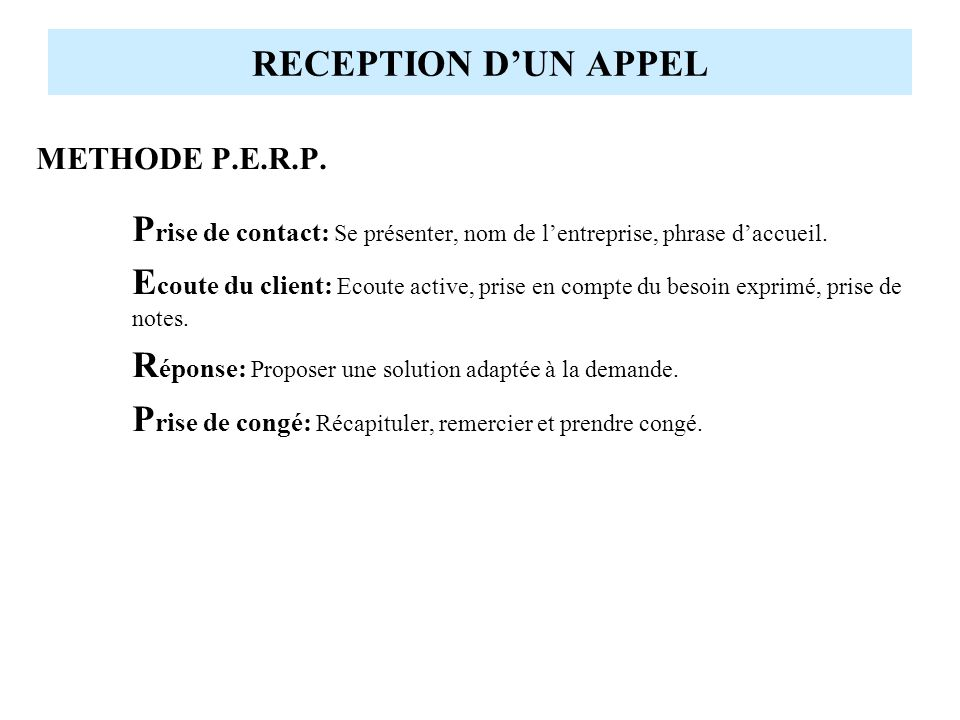 RECEPTION D'UN APPEL METHODE P.E.R.P.