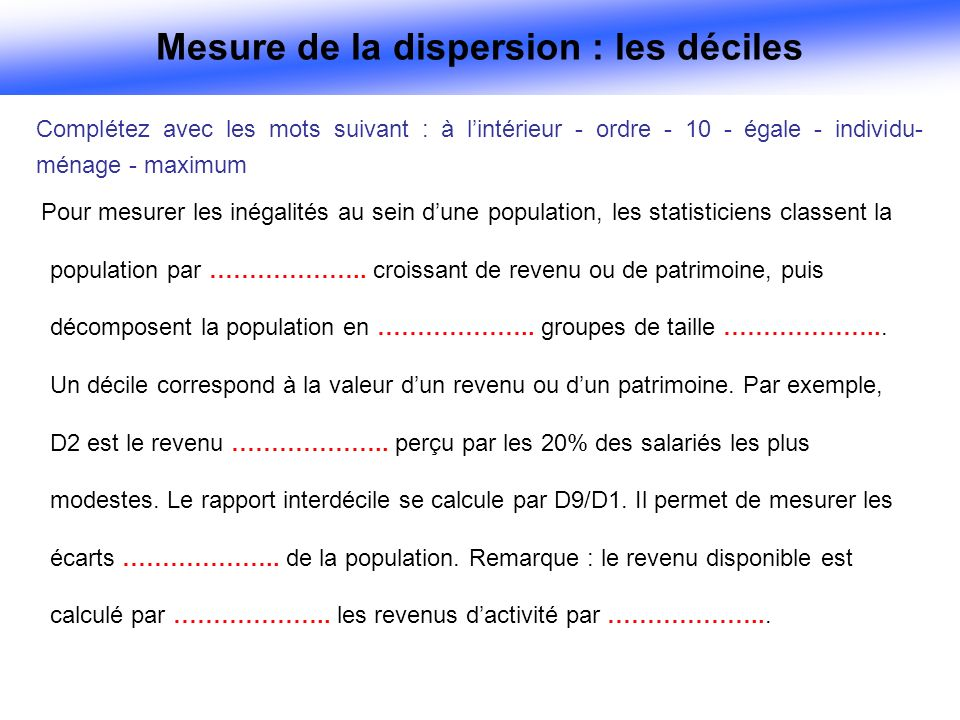 Mesure de la dispersion : les déciles