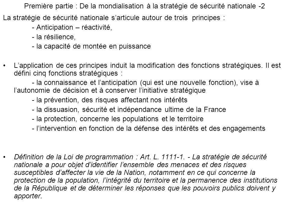Première partie : De la mondialisation à la stratégie de sécurité nationale -2