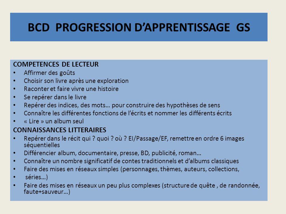 BCD PROGRESSION D'APPRENTISSAGE GS