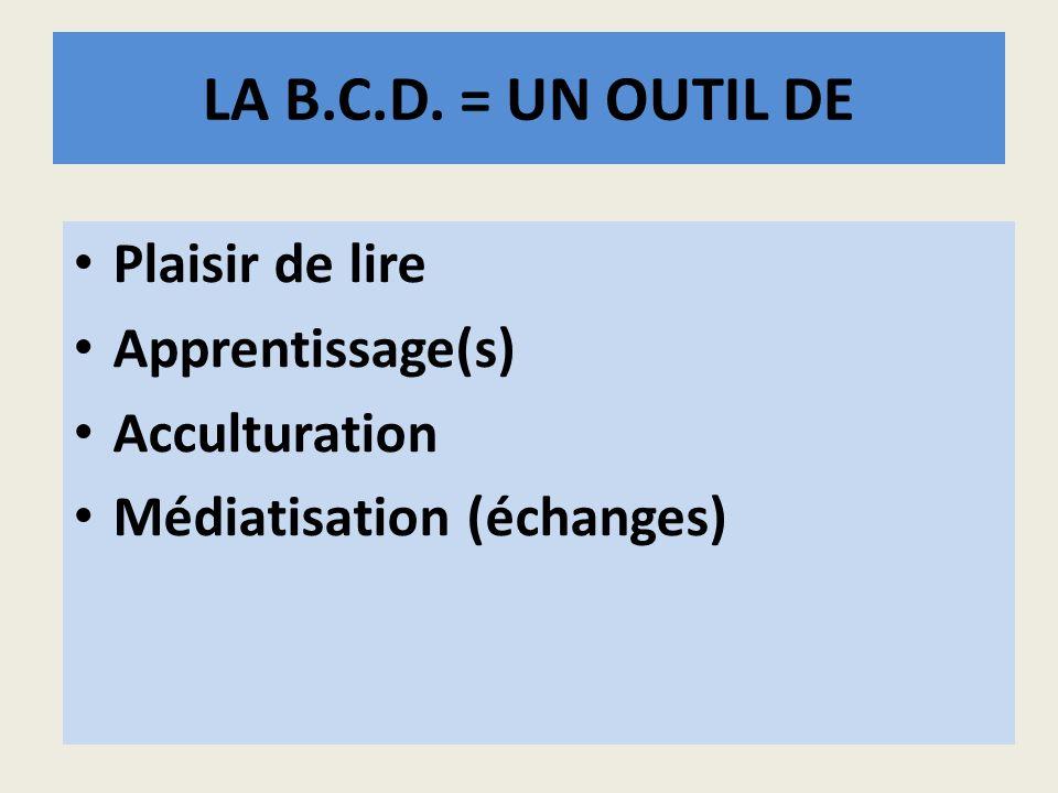 LA B.C.D. = UN OUTIL DE Plaisir de lire Apprentissage(s) Acculturation