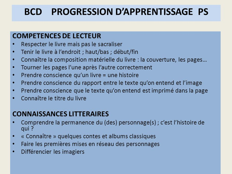 BCD PROGRESSION D'APPRENTISSAGE PS