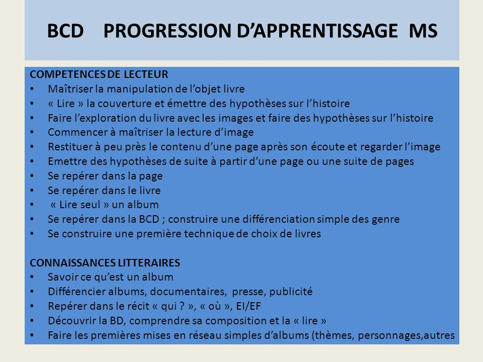 BCD PROGRESSION D'APPRENTISSAGE MS