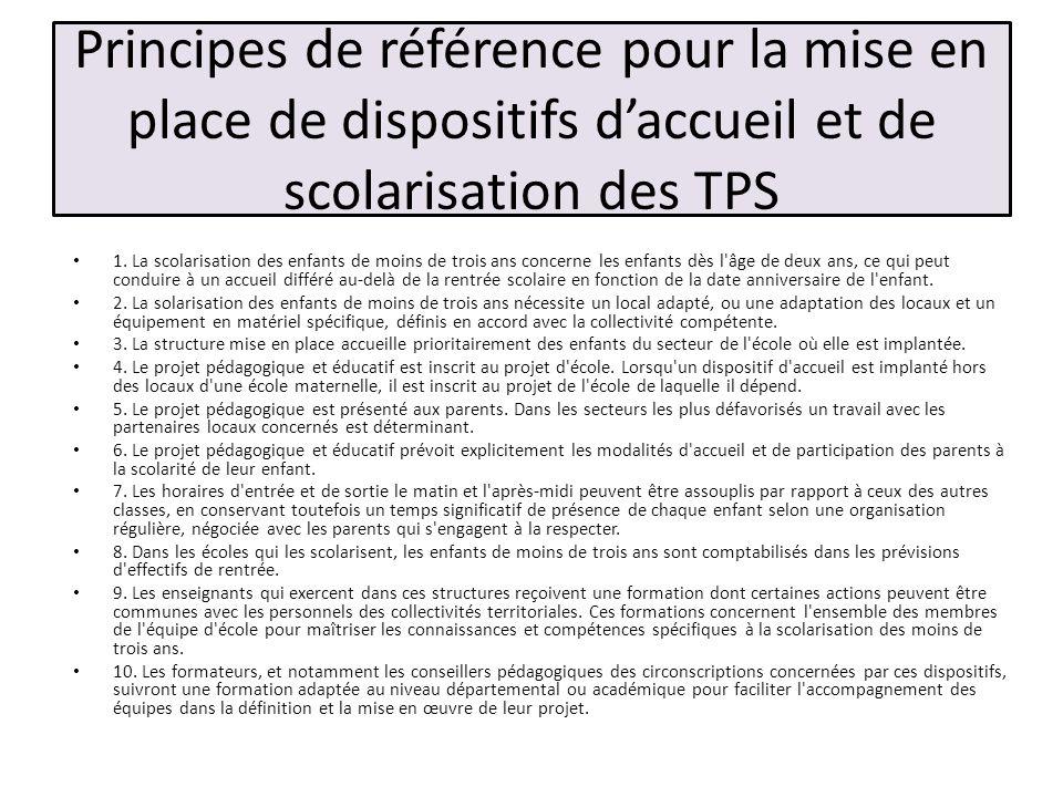 Principes de référence pour la mise en place de dispositifs d'accueil et de scolarisation des TPS
