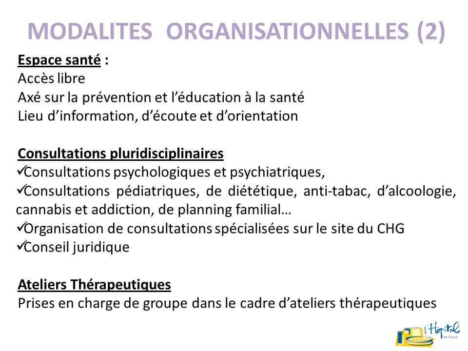 MODALITES ORGANISATIONNELLES (2)