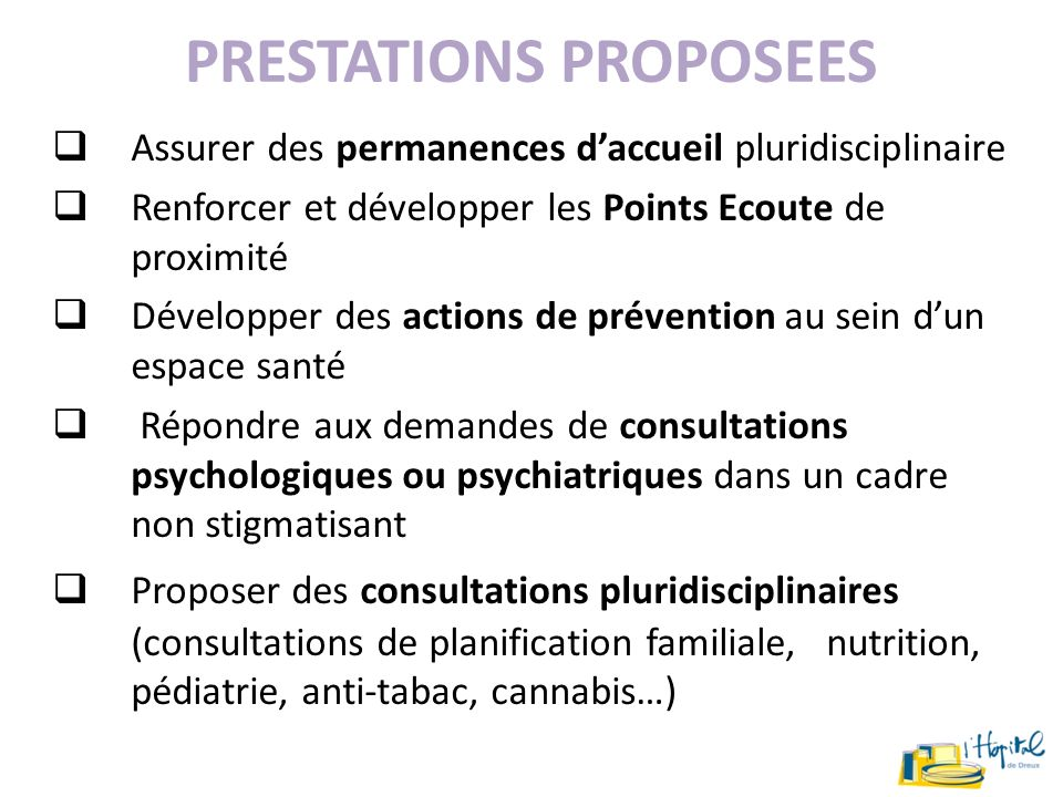 PRESTATIONS PROPOSEES
