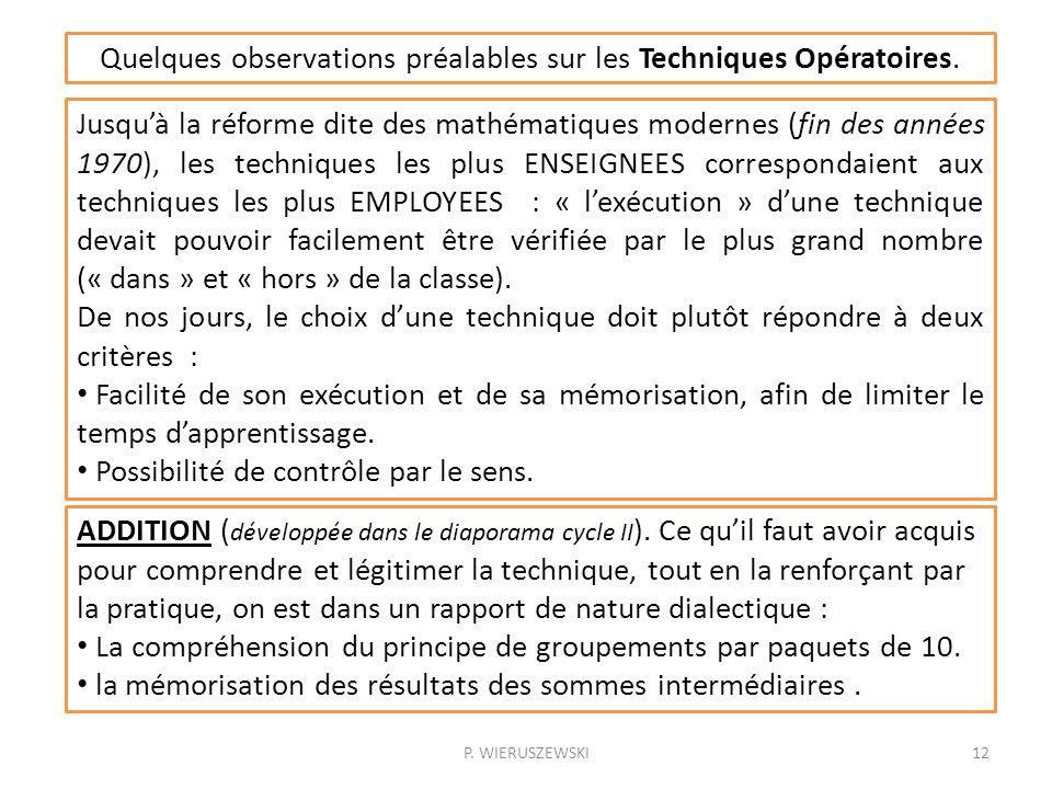 Quelques observations préalables sur les Techniques Opératoires.