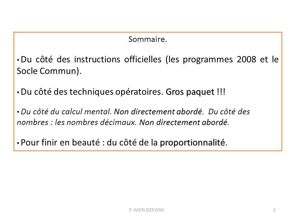Sommaire. Du côté des instructions officielles (les programmes 2008 et le Socle Commun). Du côté des techniques opératoires. Gros paquet !!!