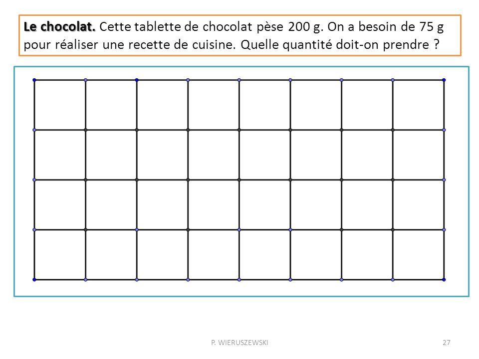 Le chocolat. Cette tablette de chocolat pèse 200 g