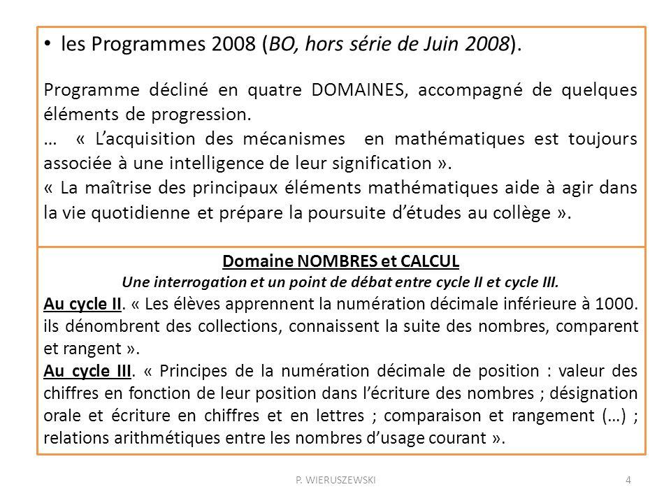 les Programmes 2008 (BO, hors série de Juin 2008).