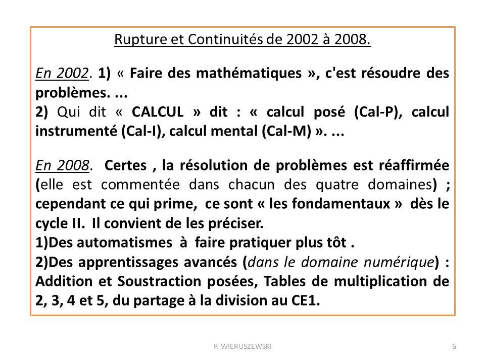 Rupture et Continuités de 2002 à 2008.
