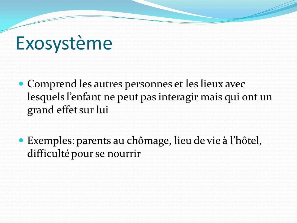 Exosystème Comprend les autres personnes et les lieux avec lesquels l'enfant ne peut pas interagir mais qui ont un grand effet sur lui.