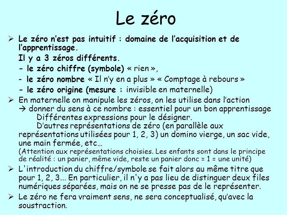 Le zéro Le zéro n'est pas intuitif : domaine de l'acquisition et de l'apprentissage. Il y a 3 zéros différents.