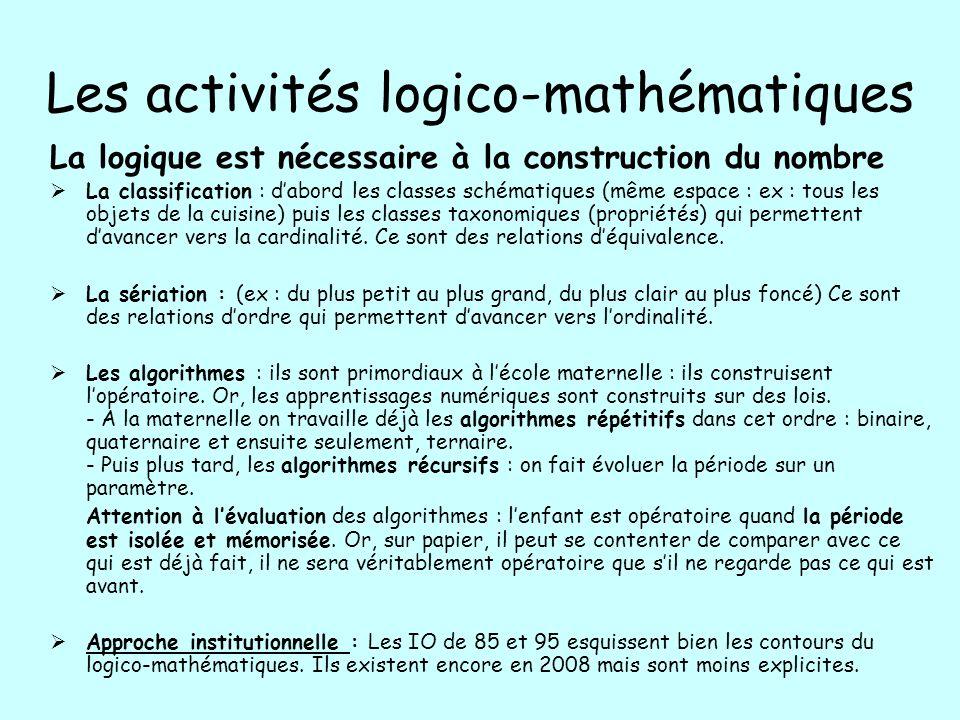 Les activités logico-mathématiques