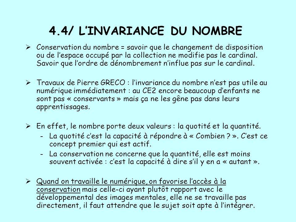 4.4/ L'INVARIANCE DU NOMBRE