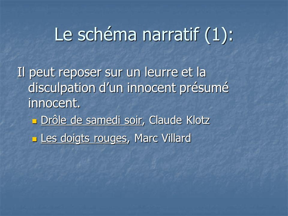 Le schéma narratif (1):Il peut reposer sur un leurre et la disculpation d'un innocent présumé innocent.