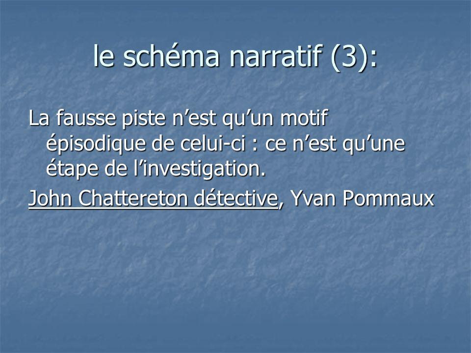 le schéma narratif (3):La fausse piste n'est qu'un motif épisodique de celui-ci : ce n'est qu'une étape de l'investigation.