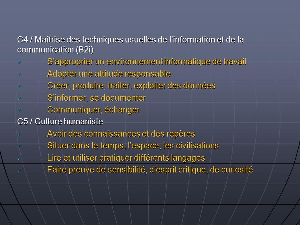 C4 / Maîtrise des techniques usuelles de l'information et de la communication (B2i)