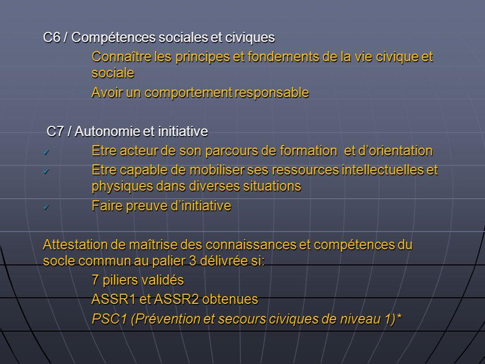 C6 / Compétences sociales et civiques