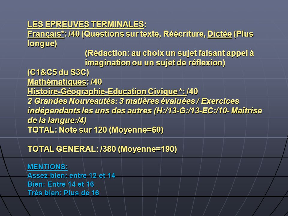 LES EPREUVES TERMINALES: Français