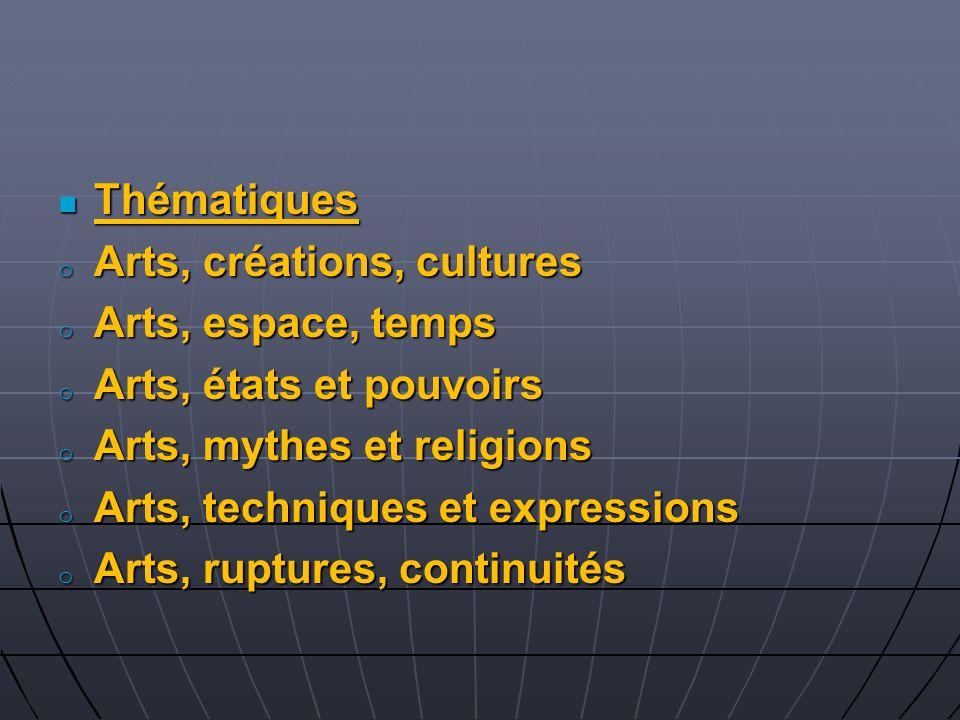 Thématiques Arts, créations, cultures. Arts, espace, temps. Arts, états et pouvoirs. Arts, mythes et religions.