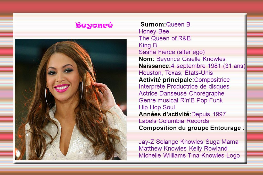 Beyoncé Surnom:Queen B Honey Bee The Queen of R&B King B