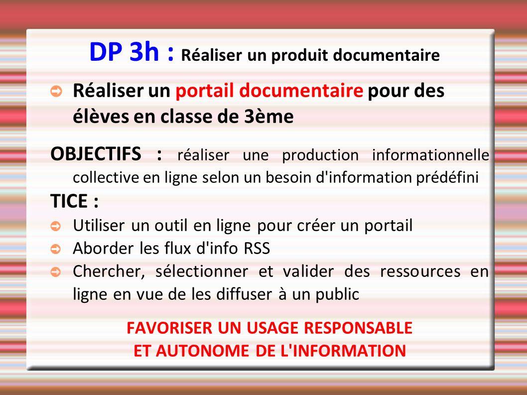 DP 3h : Réaliser un produit documentaire