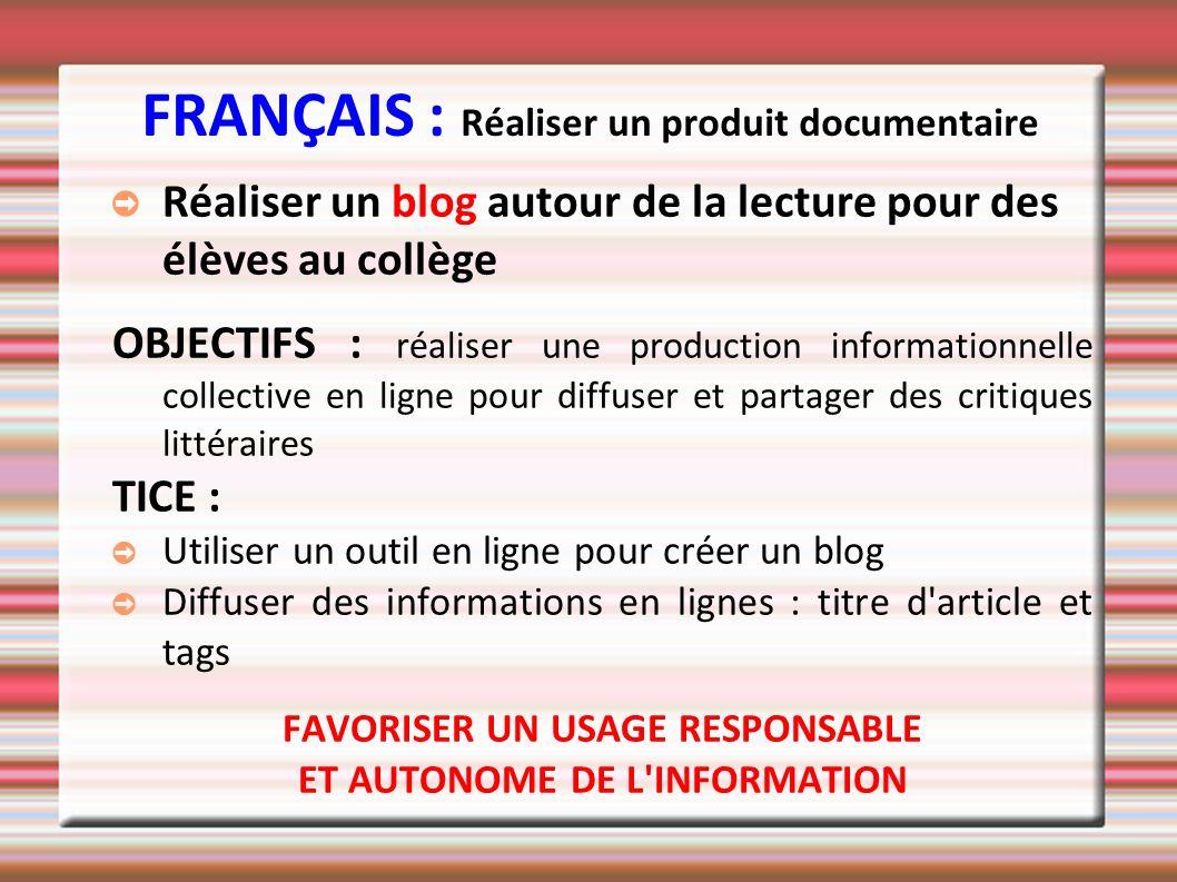 FRANÇAIS : Réaliser un produit documentaire
