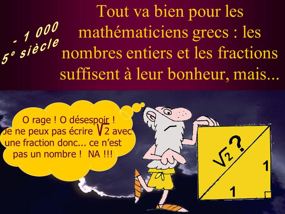 Tout va bien pour les mathématiciens grecs : les nombres entiers et les fractions suffisent à leur bonheur, mais...