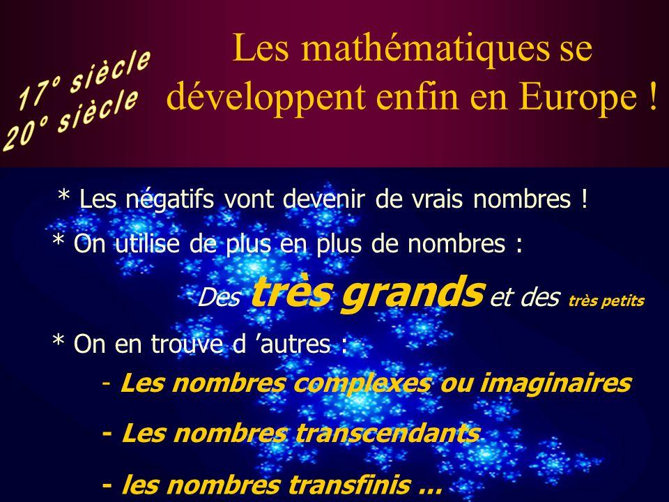 Les mathématiques se développent enfin en Europe !