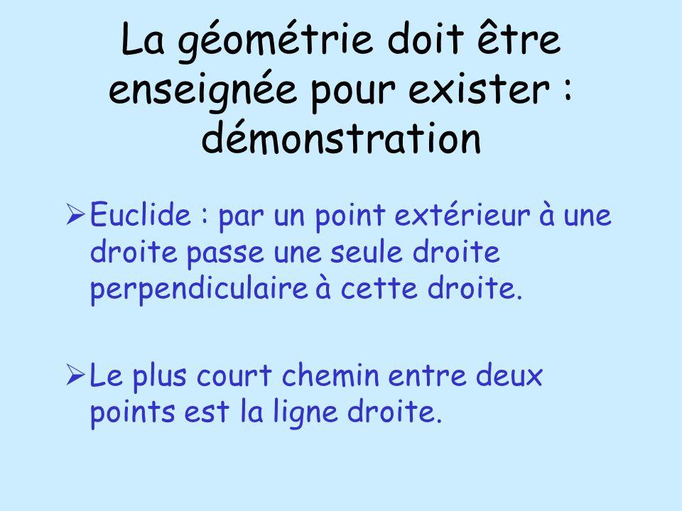 La géométrie doit être enseignée pour exister : démonstration