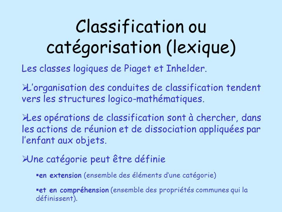 Classification ou catégorisation (lexique)