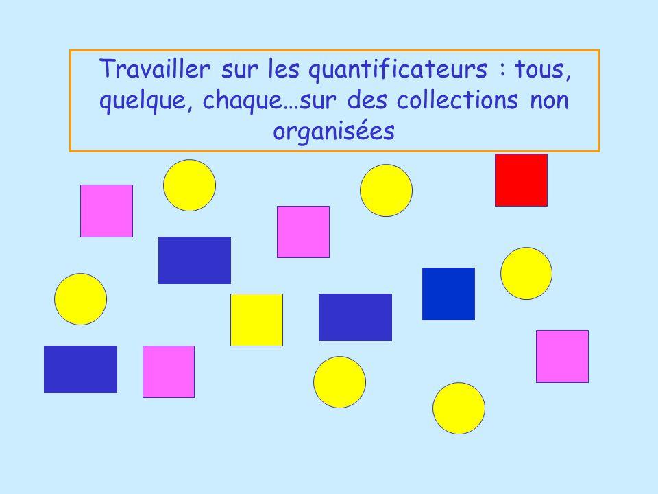 Travailler sur les quantificateurs : tous, quelque, chaque…sur des collections non organisées