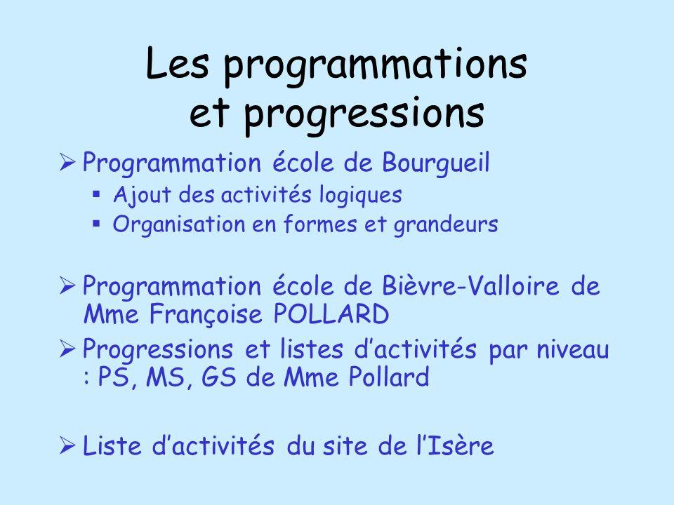 Les programmations et progressions