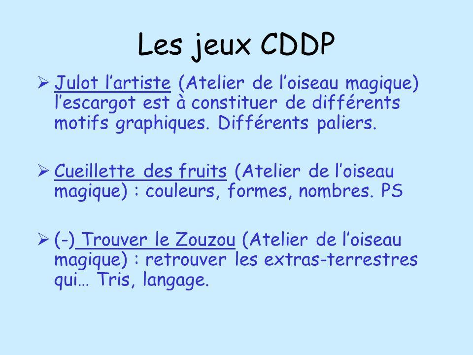 Les jeux CDDPJulot l'artiste (Atelier de l'oiseau magique) l'escargot est à constituer de différents motifs graphiques. Différents paliers.
