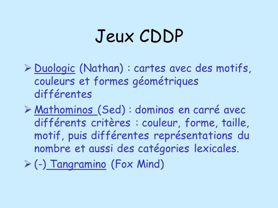 Jeux CDDPDuologic (Nathan) : cartes avec des motifs, couleurs et formes géométriques différentes.