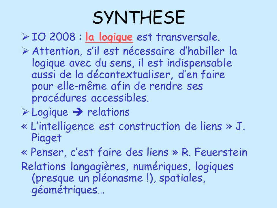 SYNTHESE IO 2008 : la logique est transversale.